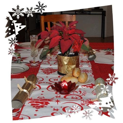 Poinsettia on table border